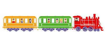 Toy train with children. Illustration of a colorful toy train with children and the engineer looking out random windows, isolated on a white background Royalty Free Stock Photography
