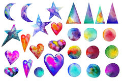 Illustration. . Colorful watercolor splashes isolated on white background. Rainbow blots. Hand drawn geometric elements. Triangles hearts moon stars. Bright and stock illustration