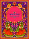 Colorful welcome banner in truck art kitsch style of India. Illustration of colorful welcome banner in truck art kitsch style of India Stock Photos