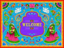 Colorful Welcome banner in truck art kitsch style of India. Illustration of colorful Welcome banner in truck art kitsch style of India vector illustration
