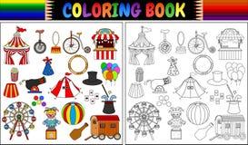 Coloring book with amusement park icons set. Illustration of Coloring book with amusement park icons set Stock Photos