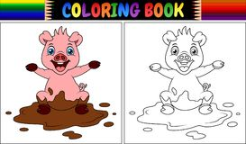 Coloring book cartoon pig play in a mud puddle. Illustration of Coloring book cartoon pig play in a mud puddle Stock Photography