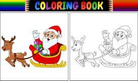 Coloring book cartoon santa claus riding his reindeer sleigh. Illustration of Coloring book cartoon santa claus riding his reindeer sleigh Stock Photos