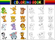 Coloring book with cartoon wild animals collection Royalty Free Stock Photography