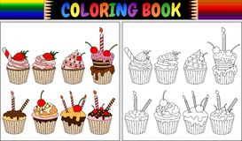 Coloring book cupcake with candles and fruits. Illustration of Coloring book cupcake with candles and fruits Royalty Free Stock Images