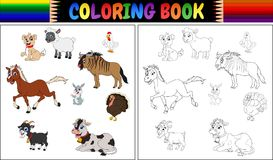 Coloring book farm animals collection. Illustration of Coloring book farm animals collection stock illustration