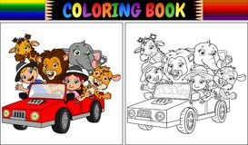 Coloring book with funny kids and animal cartoon on red car. Illustration of Coloring book with funny kids and animal cartoon on red car Stock Images
