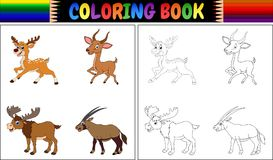 Coloring book with horned animals collection Royalty Free Stock Photo