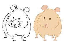 Illustration for coloring book of little hamster on white background. Vector art of small cute rodent good for decoration of book royalty free illustration