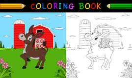 Coloring book or page. Cute donkey in the farm. Illustration of Coloring book or page. Cute donkey in the farm vector illustration