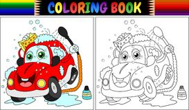 Coloring book with red cartoon car washing. Illustration of Coloring book with red cartoon car washing Royalty Free Stock Photo