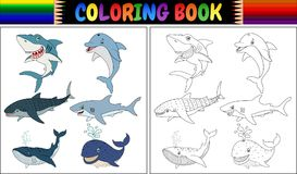 Coloring book with sea animals collection Stock Photos