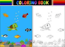Coloring book with sea animals Royalty Free Stock Photography