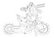 Illustration: Coloring Book Series: The Beautiful Bounty Hunter and Her Motorcycle. Soft thin line. Stock Images