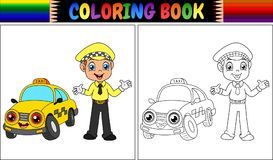 Coloring book with taxi driver cartoon. Illustration of Coloring book with taxi driver cartoon Royalty Free Stock Image