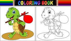 Coloring book turtle cartoon Stock Images