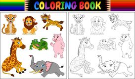 Coloring book with wild animals cartoon Stock Photography