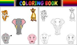 Coloring book with wild animals cartoon Stock Image