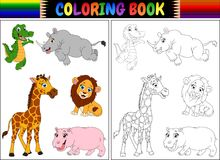 Coloring book with wild animals cartoon Royalty Free Stock Images