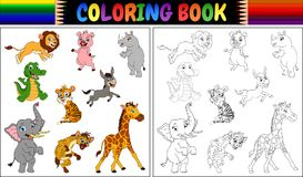 Coloring book with wild animals collection. Illustration of Coloring book with wild animals collection royalty free illustration