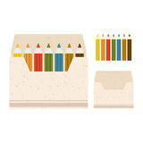 Illustration of coloured pencils in the box on a b Stock Images