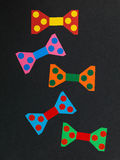 Illustration of Colourful Animated Bow Ties On A Black Backgroun Royalty Free Stock Photos
