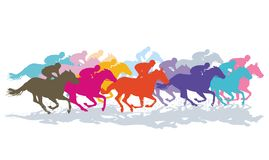 Colourful galloping horses. An illustration of colourful galloping horses with jockeys during a horse race vector illustration