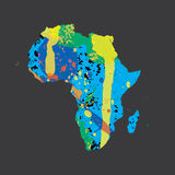 Illustration of a colourfully filled outline of Africa Stock Images