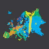 Illustration of a colourfully filled outline of Europe Stock Photos