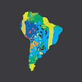 Illustration of a colourfully filled outline of South America Stock Photo
