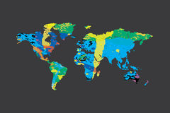 Illustration of a colourfully filled outline of the world Stock Photography