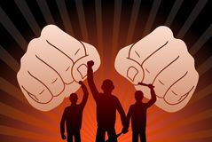 Combative protesters. This is an illustration of combative protesters Stock Image