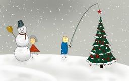 Illustration comique de l'hiver Photographie stock
