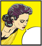 Illustration comique de vecteur d'amour de rétro femme de visage Image stock