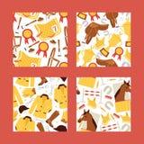 Illustration comique de vecteur de modèle de seamles de bande dessinée Cheval dans l'écurie, selle, étrier, fer à cheval, barrièr illustration libre de droits