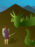 Woman Slaying the Dragon Stock Photography