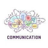 Illustration from communication icons in chat bubbles with three orbital ovals.  Stock Image