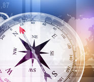 Illustration of compass and world map on colorful Royalty Free Stock Image