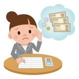 Illustration comportant un comptable féminin Computing Illustration de Vecteur