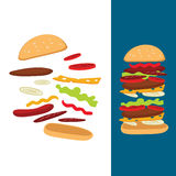 Illustration of the composition of a cheeseburger Royalty Free Stock Photos