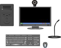 Illustration of Computer components in black Royalty Free Stock Image