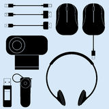 Illustration of computer peripherals and cords Stock Photo