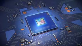 Illustration of a computer processor in bright blue on circuit b Stock Photo