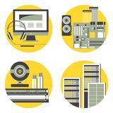 Illustration with Computer, Server Hardware, Peripherals and Computer Accessories. stock illustration