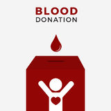 Illustration concept Of Blood Donation Box. Box with people health character, give the blood on the blood ballot Stock Photos