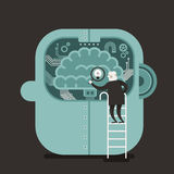Illustration concept of brain searching Stock Photo