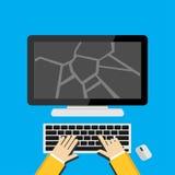 Illustration concept for broken screen or cracked desktop screen. Stock Photos