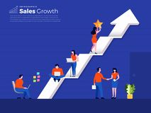 Teamwork building sales growth. Illustration concept business working for sales growth with graph up arrow. Vwctor illustrate stock illustration