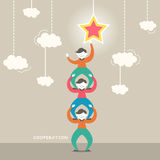 Illustration concept of cooperation. Flat design vector illustration concept of cooperation Stock Photography