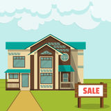 Illustration, concept - cottage for sale. Flat style. Stock Image